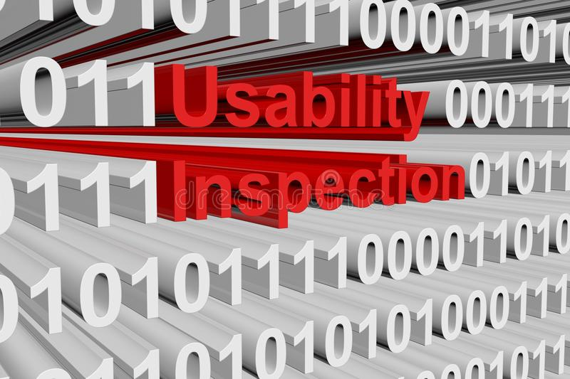 Usability inspection. In the form of binary code, 3D illustration royalty free illustration