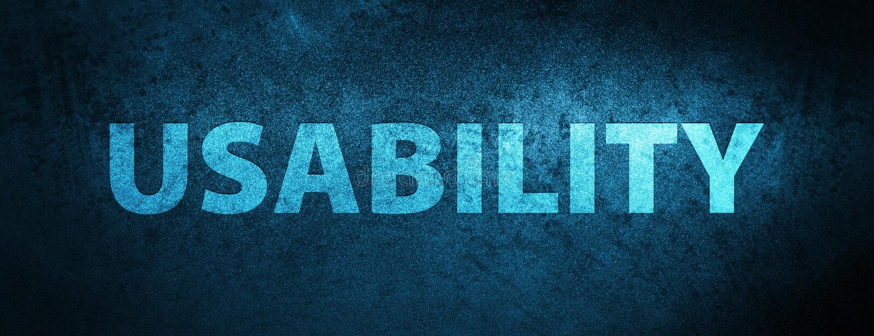 Usability special blue banner background. Usability isolated on special blue banner background abstract illustration royalty free illustration