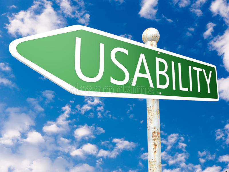 Usability. Street sign illustration in front of blue sky with clouds royalty free illustration