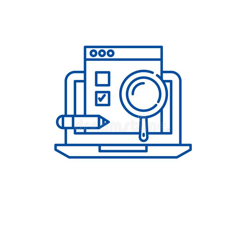Usability test line icon concept. Usability test flat  vector symbol, sign, outline illustration. Usability test line concept icon. Usability test flat  vector stock illustration