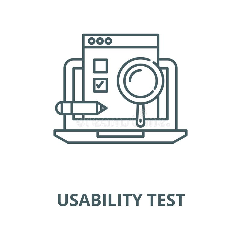 Usability test vector line icon, linear concept, outline sign, symbol. Usability test vector line icon, outline concept, linear sign vector illustration