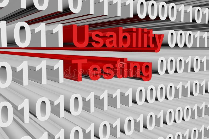 Usability testing. In the form of binary code, 3D illustration royalty free illustration