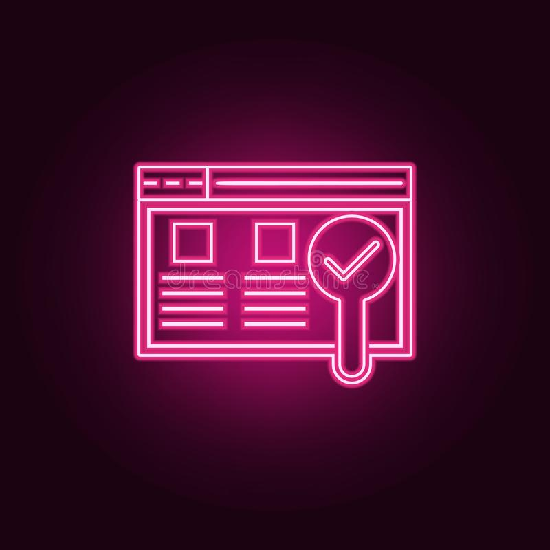 Usability testing icon. Elements of Web Development in neon style icons. Simple icon for websites, web design, mobile app, info. Graphics on dark gradient royalty free illustration