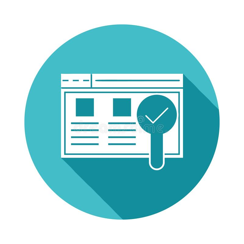 Usability testing icon in Flat long shadow style. On white background royalty free illustration
