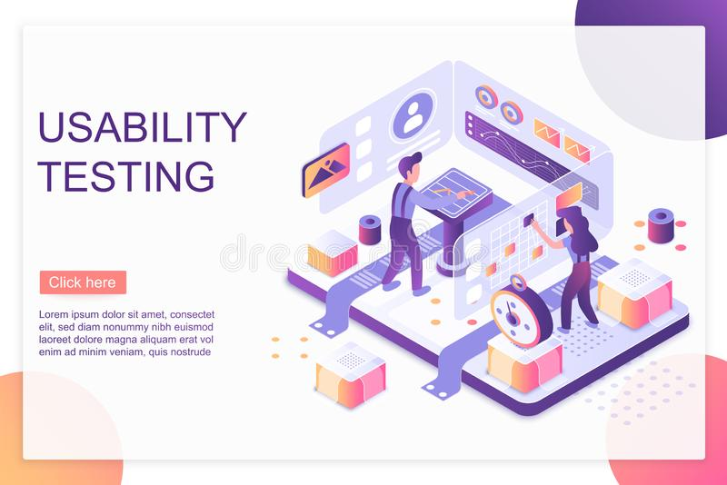 Usability testing isometric landing page vector template. Website optimization and customization services webpage design layout. User experience, UI, UX. App stock illustration