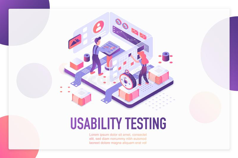 Usability testing isometric landing page vector template. Website optimization and customization services webpage design layout. User experience, UI, UX. App vector illustration