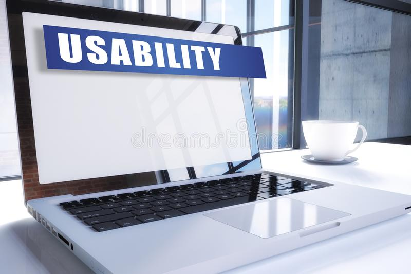 Usability. Text on modern laptop screen in office environment. 3D render illustration business text concept stock illustration