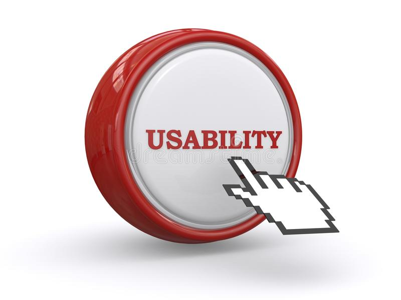 Usability. Text 'usability' in brown uppercase letters inscribed on a white circular button with brown surround (rim) and with electronic finger pointing to the royalty free illustration
