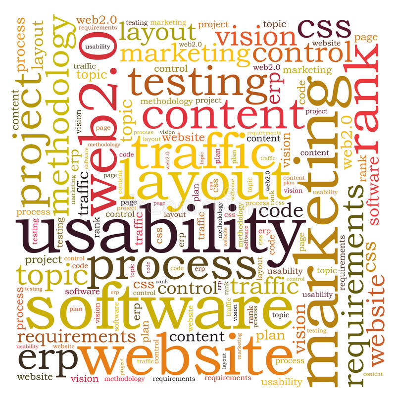 Usability word cloud. On white background vector illustration
