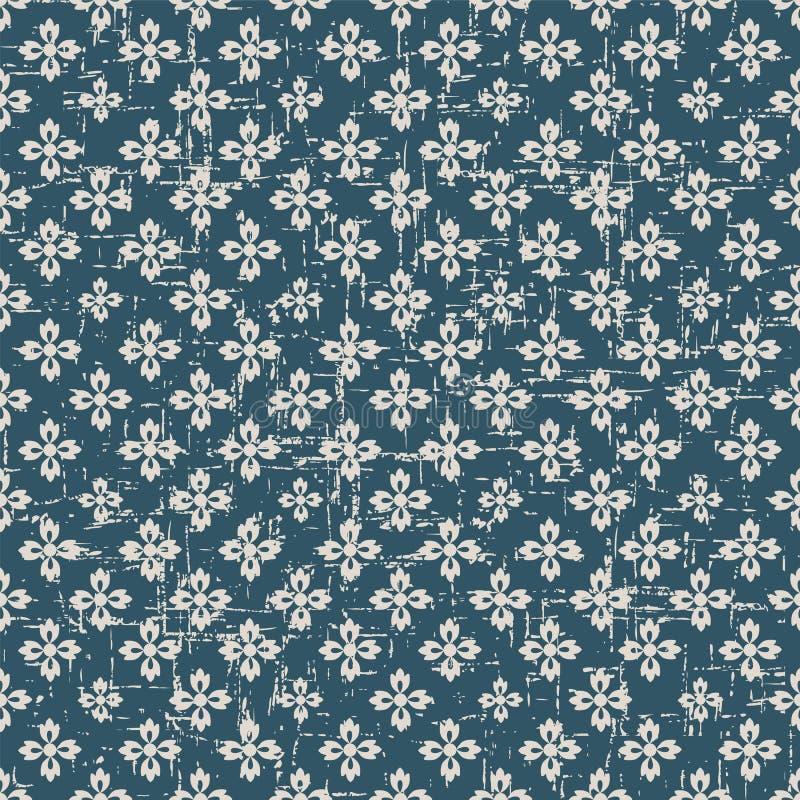 Usada flor antigua inconsútil de la cruz del fondo 315_vintage stock de ilustración