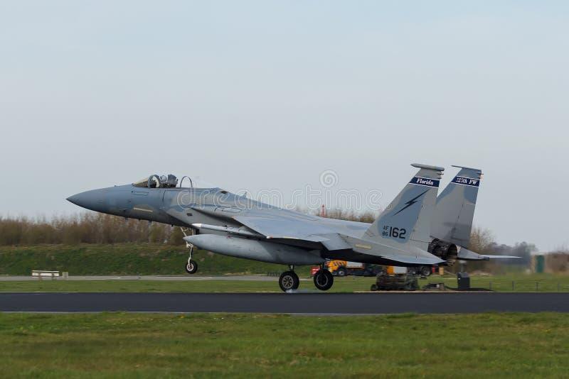 USAF F-15 Eagle touching down at Frisian Flag exercise stock photos