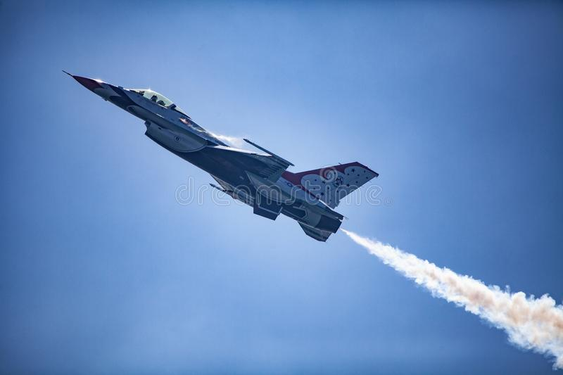 Usaf f16 jets flying at airshow royalty free stock photography