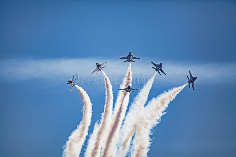 Usaf f16 jets flying at airshow stock photos