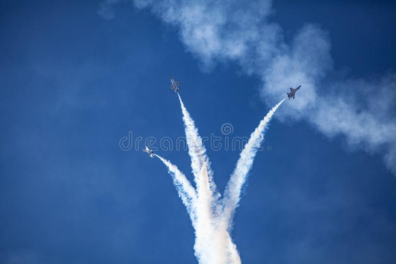 Usaf f16 jets flying at airshow royalty free stock photos