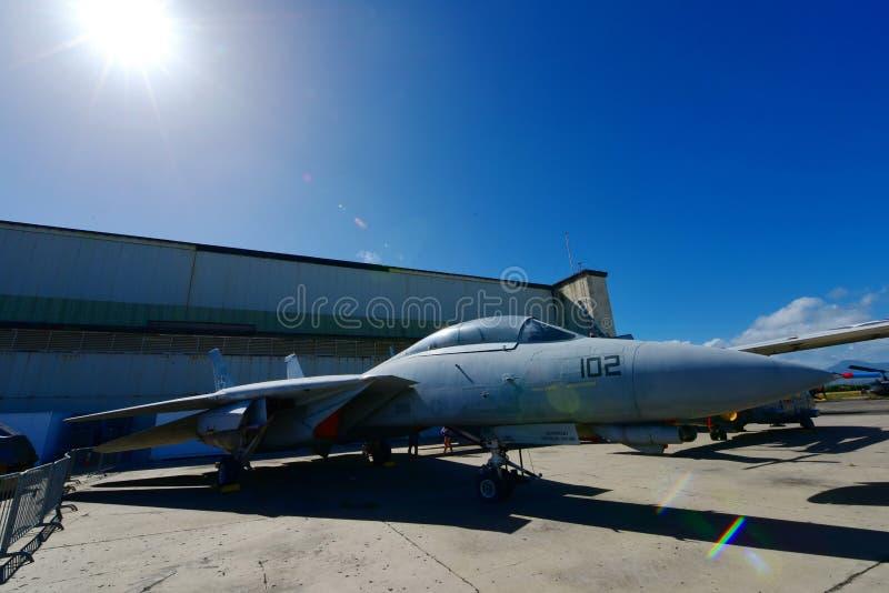 USAF F-14 Tomcat myśliwiec na pokazie przy Perełkowym Habor lotnictwa Pacyficznym muzeum zdjęcia royalty free