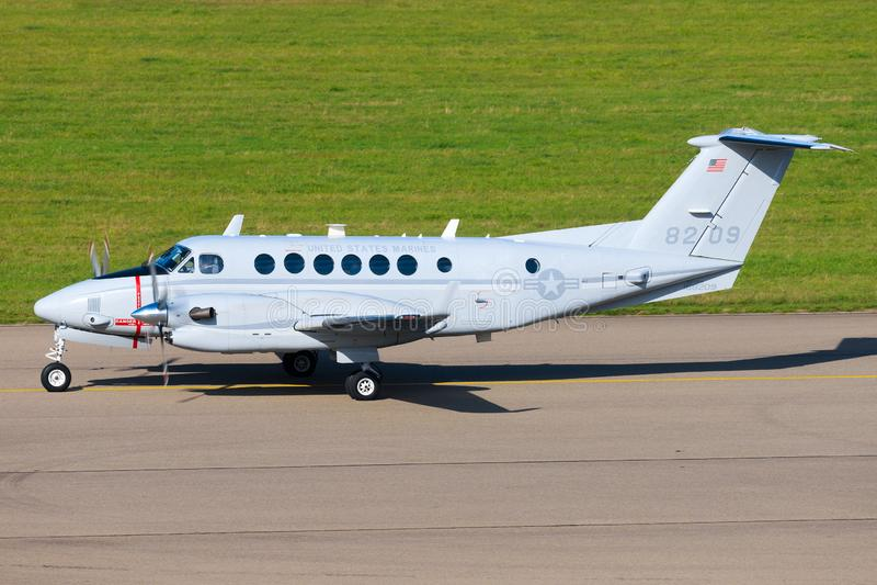USAF KING AIR  at Stuttgart Airport. Stuttgart/Germany October 26, 2019: USAF KING AIR  at Stuttgart Airport royalty free stock images