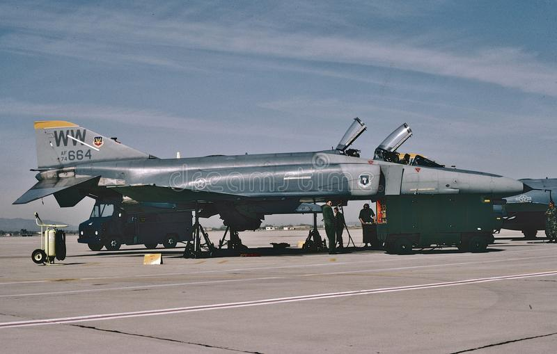 USAF McDonnell F-4E CN 4815. Taken at george AFB, Victorville, California KVCV on April 10, 1992 . Aircraft was being readied for storage at AMARC, Davis stock photos