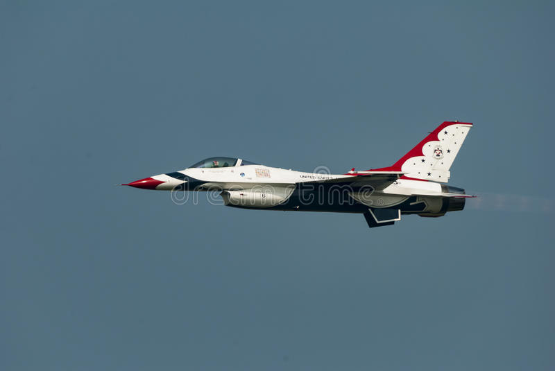 USAF Thunderbird in level flight. Cape Cod, Massachusetts, USA - August 24, 2007: United States Air Force Thunderbird in level flight at Otis Air Force Base stock photos