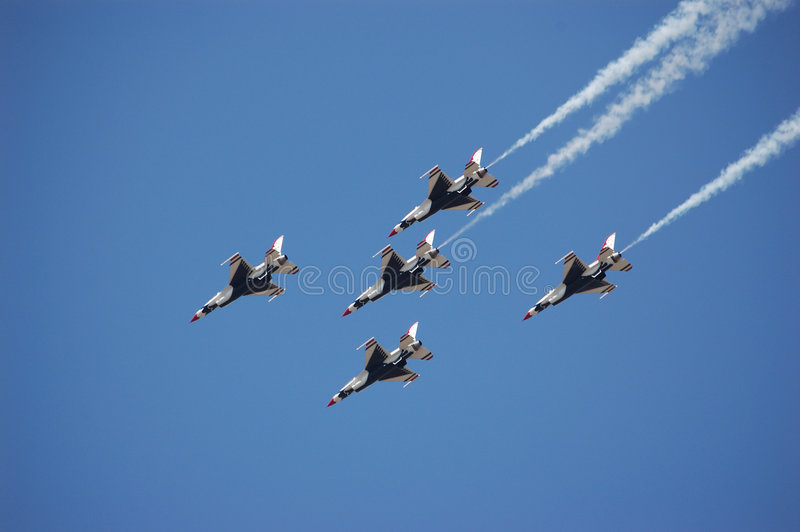 Download USAF Thunderbirds stock image. Image of precision, clouds - 641203