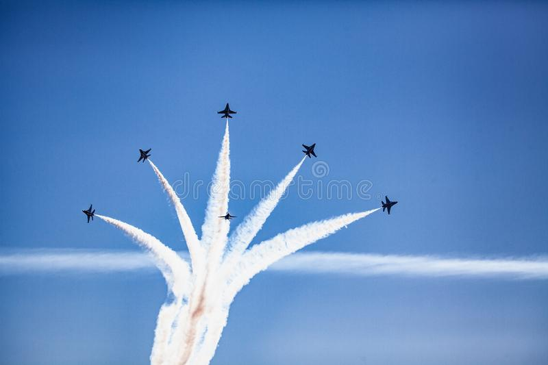 Usaf f16 jets flying at airshow stock image