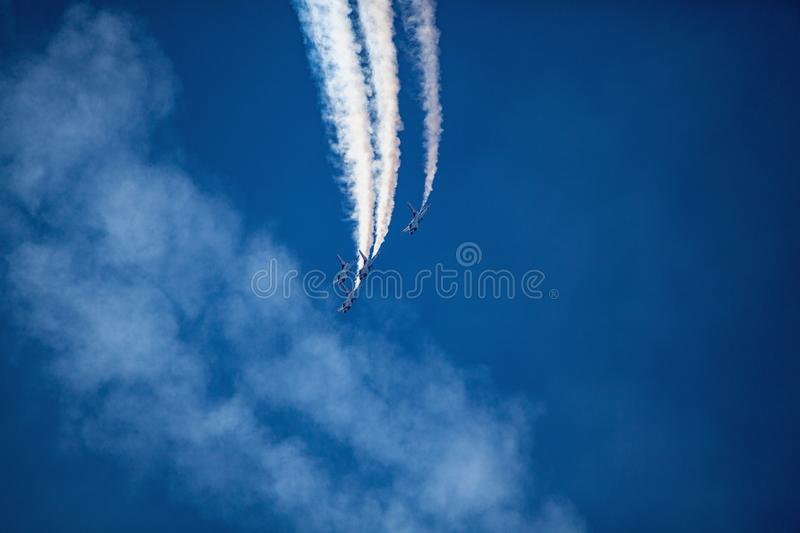 Usaf f16 jets flying at airshow stock photography