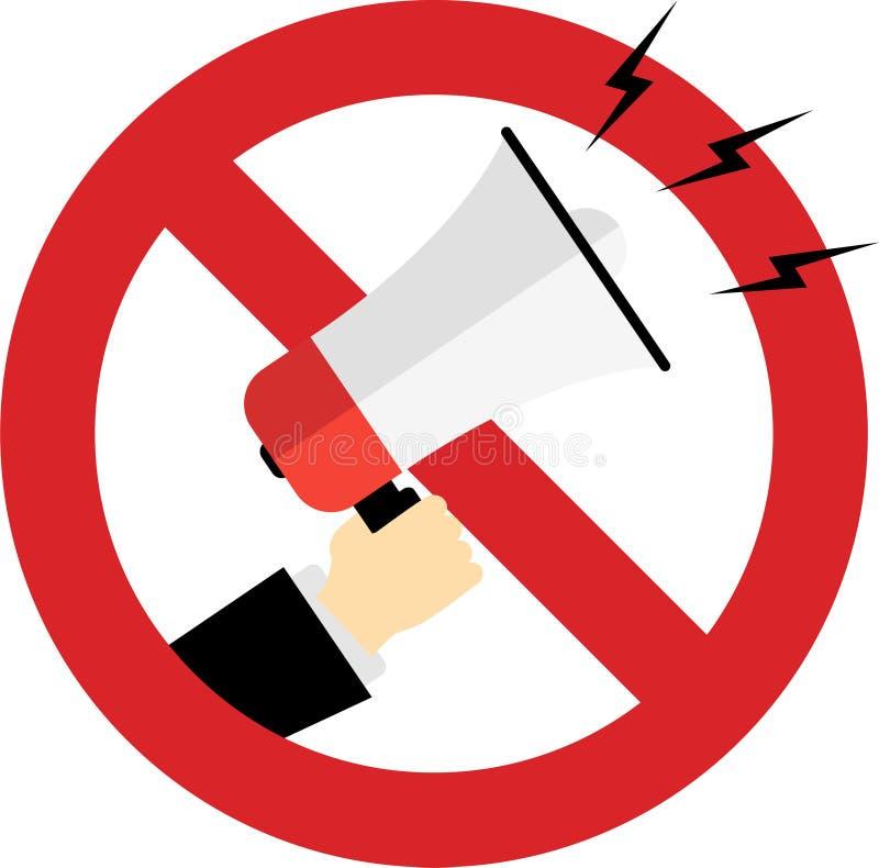 usage de mégaphone interdit dans ce secteur illustration de vecteur