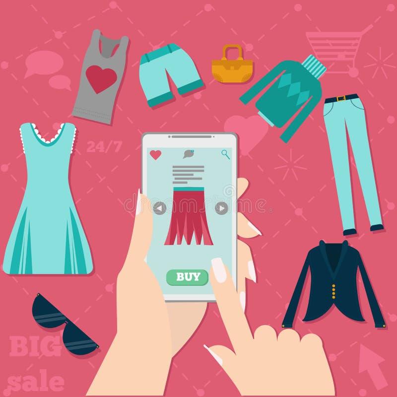 Usage shoping en ligne illustration stock