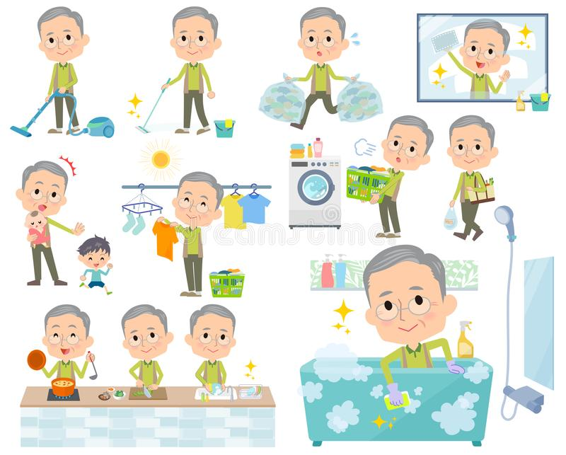 Usage vert grandfather_housekeeping illustration libre de droits