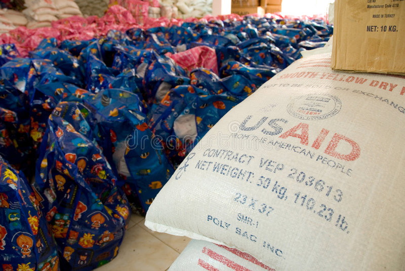USAID Rijst stock foto