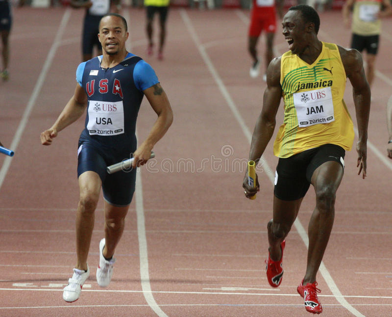 Usain Bolt. ( JAM ) at the men 100 meters in the Zurich golden league meeting. Zurich. 2009-08-28 stock photos