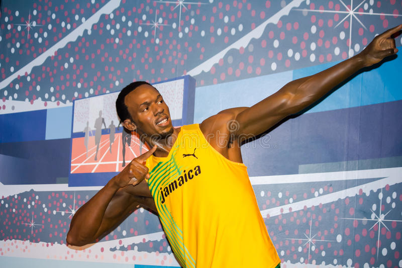 Usain Bolt após a raça imagens de stock royalty free