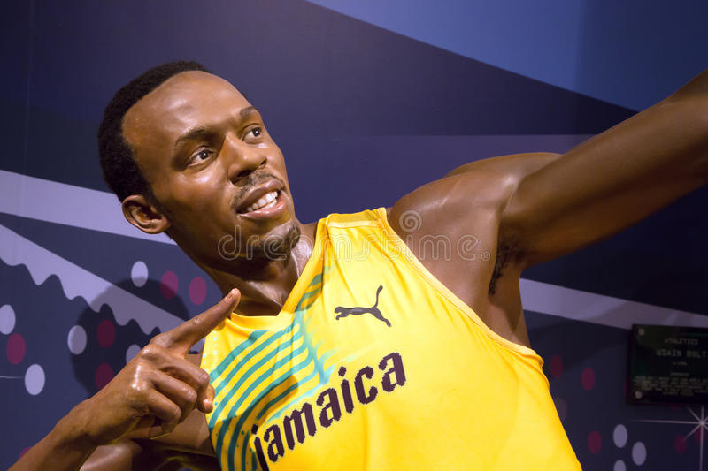 Usain Bolt dans Madame Tussauds de Londres photo stock