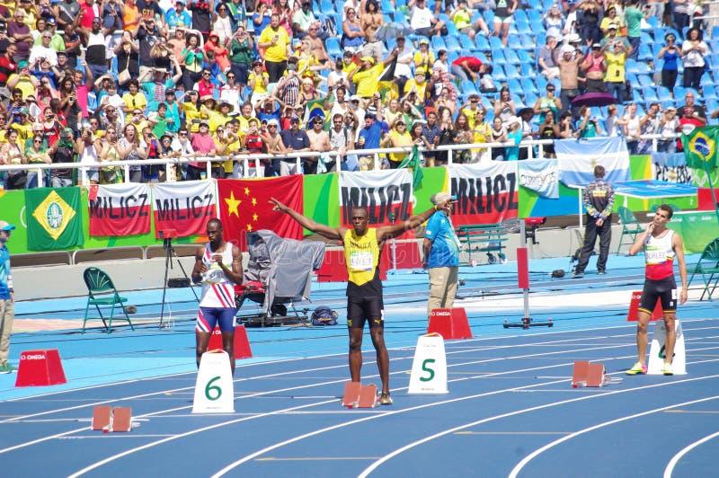 Usain Bolt en las Olimpiadas Rio2016 imagen de archivo
