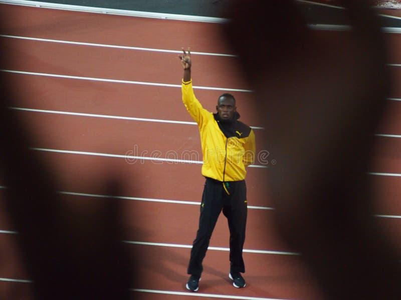 Usain Bolt nimmt Abschied lizenzfreie stockfotografie