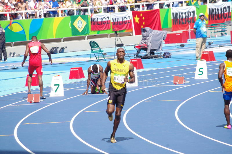 Usain Bolt tries strating bloks for 200m at Rio2016 Olympics. Usain Bolt at start line of 200m at Rio2016 XXXI Summer Olympics. Brazil. Picture taken Aug 16 stock image