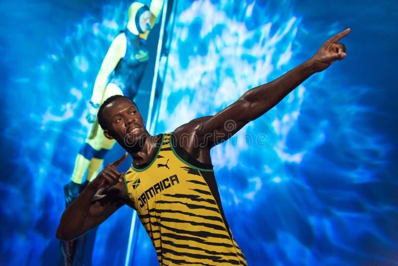 Usain Bolt-wascijfer bij Mevrouw Tussauds-wasmuseum in Istanboel royalty-vrije stock foto's