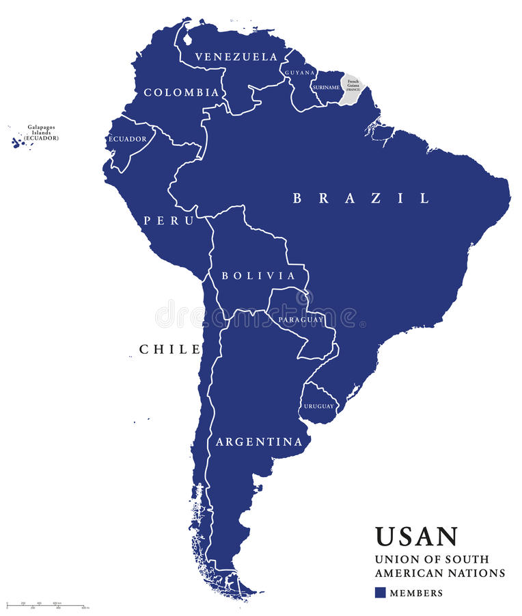 USAN union av söder - amerikansk nationöversikt royaltyfri illustrationer