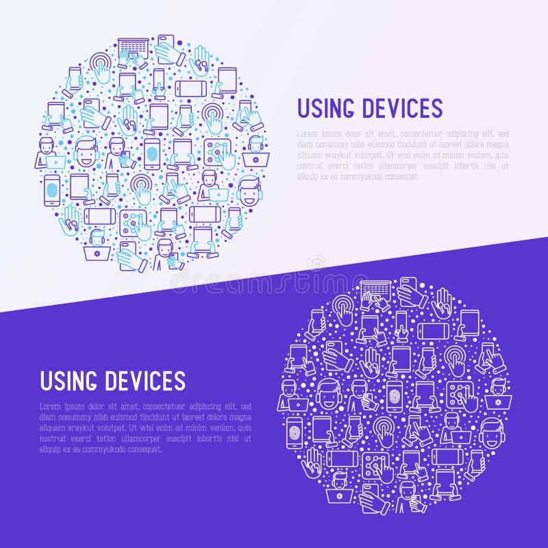 Usando concepto de los dispositivos en círculo ilustración del vector