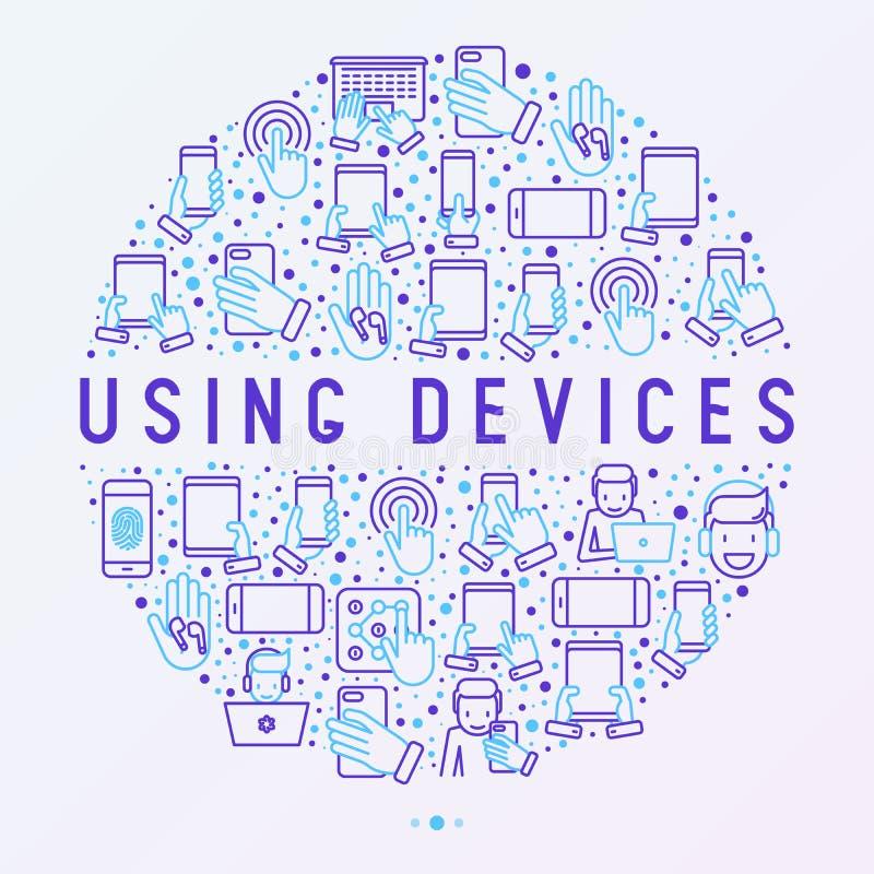 Usando concepto de los dispositivos en círculo stock de ilustración