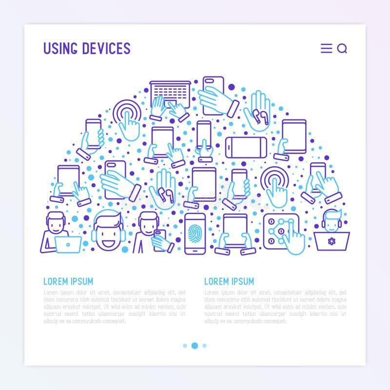 Usando concepto de los dispositivos en semi-círculo libre illustration
