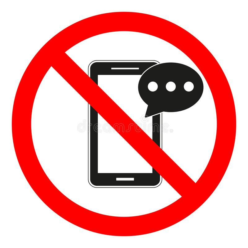 Usando del telefono cellulare e restrizione mandante un sms Mandare un sms e chiamare non sono permessi Nessun telefono delle cel illustrazione di stock