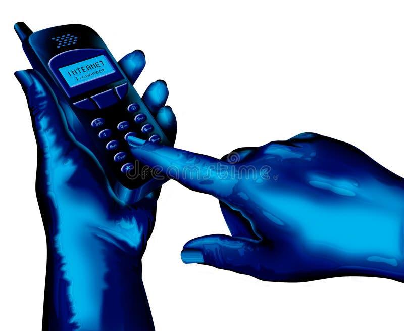 Usando el teléfono celular ilustración del vector