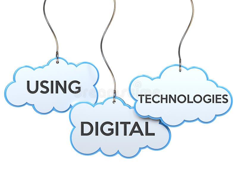 Usando tecnologias digitais na bandeira da nuvem ilustração do vetor