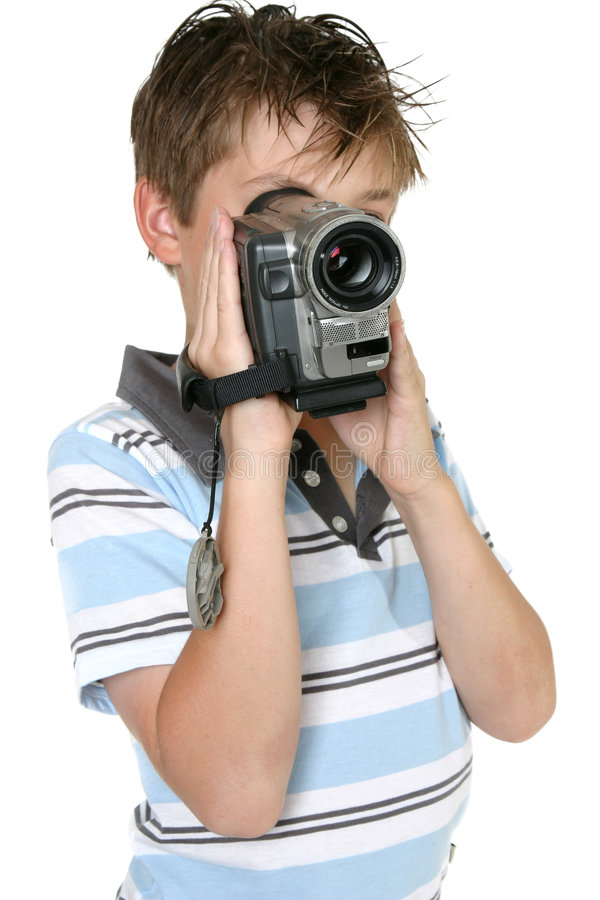 Usando una cámara de vídeo de Digitaces fotos de archivo