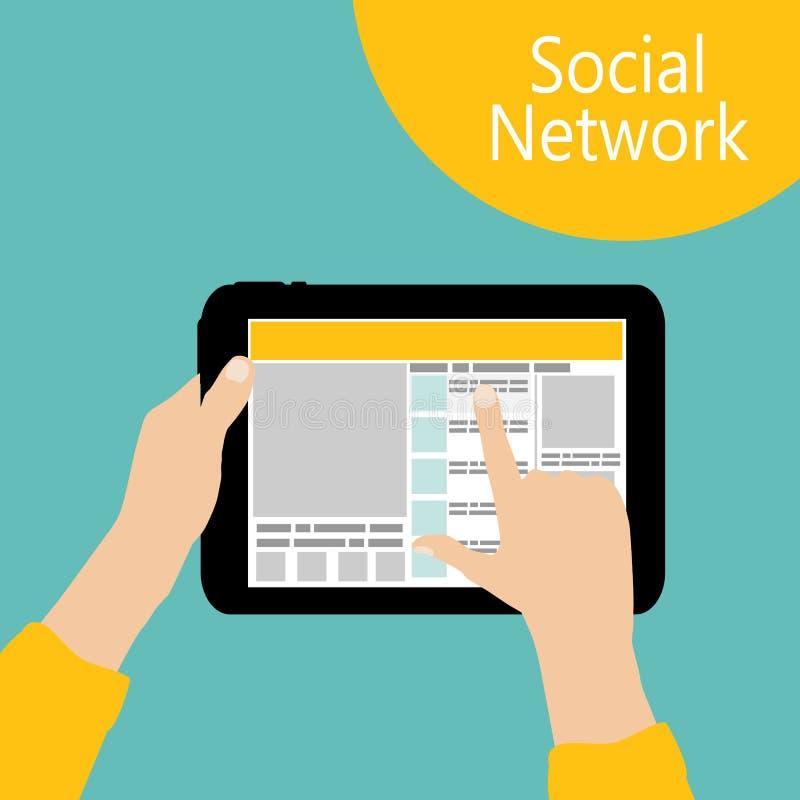 Usando vector plano del concepto social de la red ilustración del vector