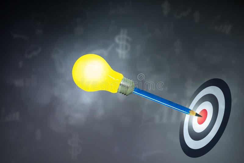 Usato corregga con la lampadina sull'obiettivo colpito capo sul bersaglio illustrazione di stock