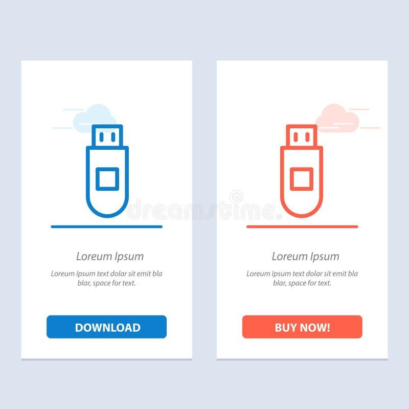 Usb、存贮,数据蓝色和红色下载和现在买网装饰物卡片模板 库存例证