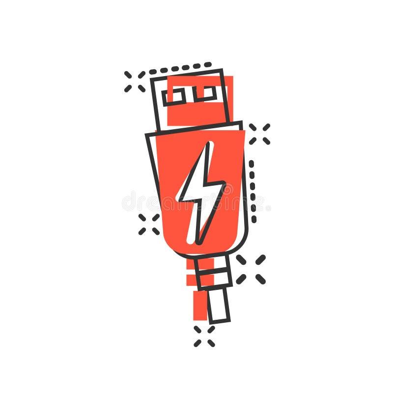 Usb在可笑的样式的缆绳象 在白色被隔绝的背景的电充电器传染媒介动画片例证 电池适配器飞溅 向量例证