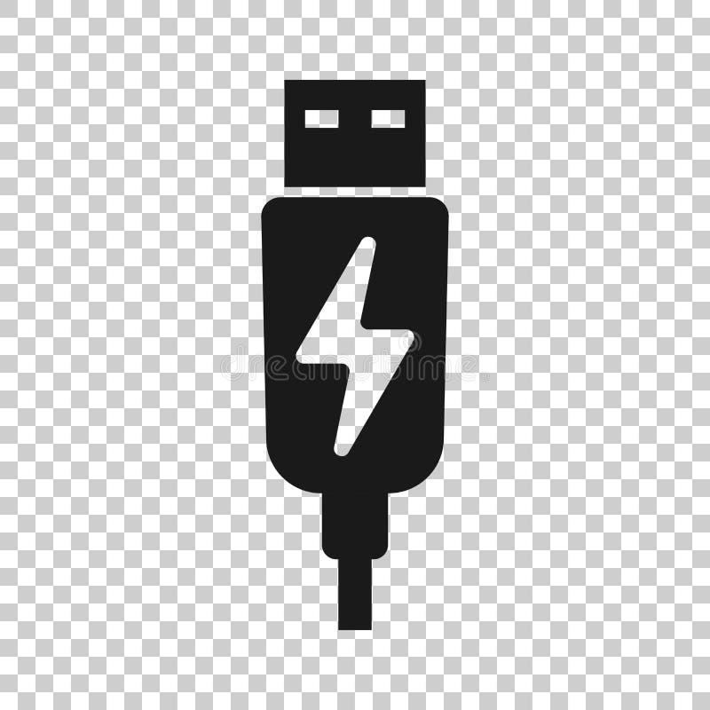 Usb在透明样式的缆绳象 在被隔绝的背景的电充电器传染媒介例证 电池适配器企业概念 向量例证