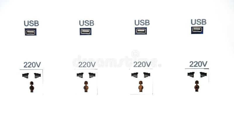 USB端口插孔自由充电驻地 免版税库存照片